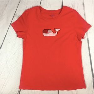 Vineyard Vines Red Flag Whale Graphic Cotton Tee M